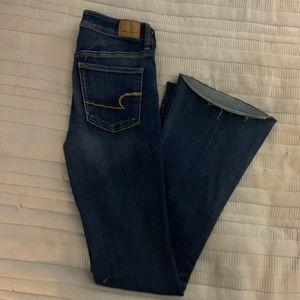 AEO Super Stretch Hi-Rise Slim Flare Jeans